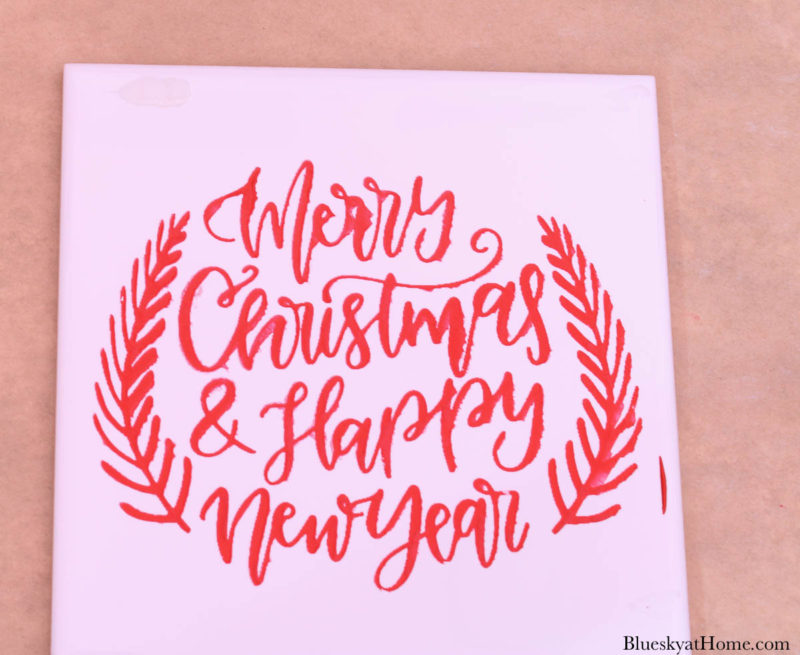 Christmas tile with stencils