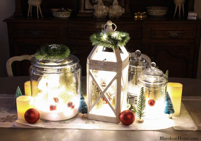 lighted Christmas tablescape centerpiece