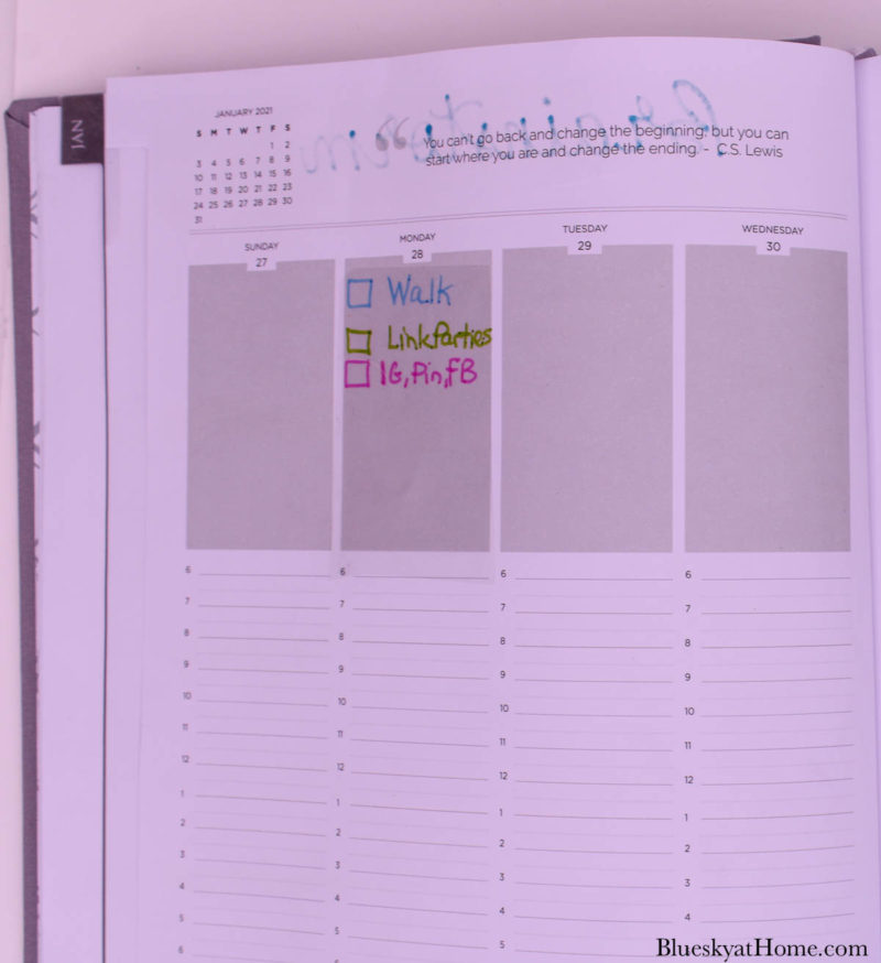 page in planner