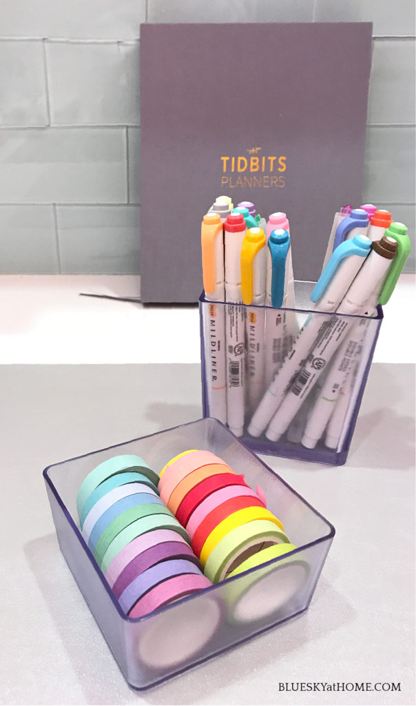 washi tape and highlighters