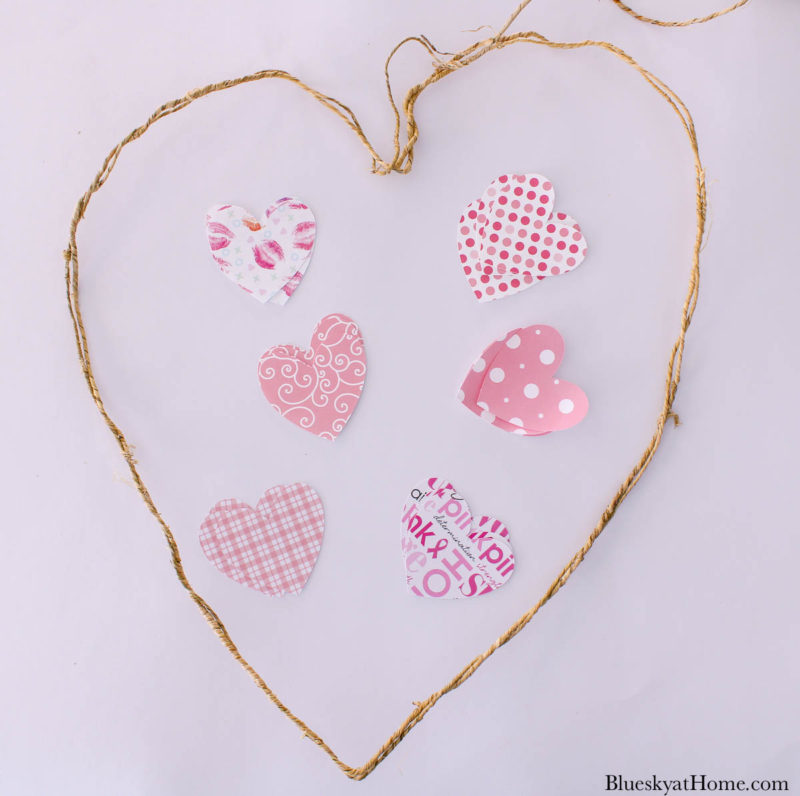 grapevine heart wreath with pink paper hearts