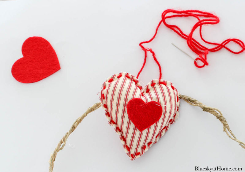 red fabric ticking heart