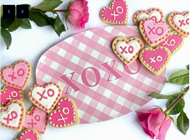 pink and white check platter for Valentine's gift