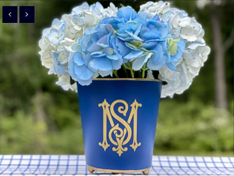 blue planter with gold monogram and flowers for Valentine's gift