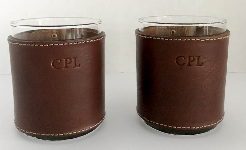 leather wrapped rocks glasses