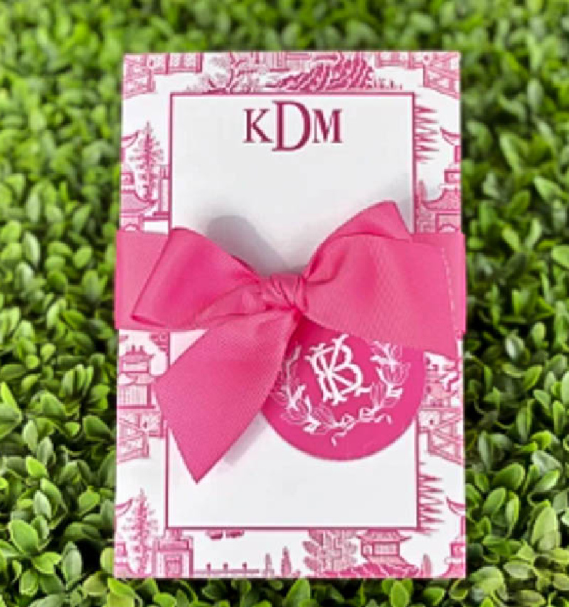 pink and white notepad for Valentine's gift