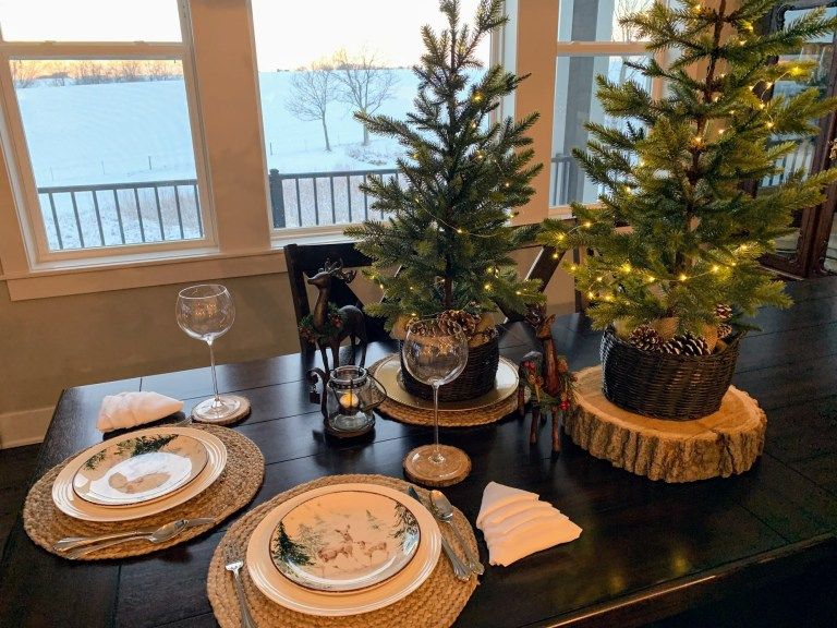 winter table with trees