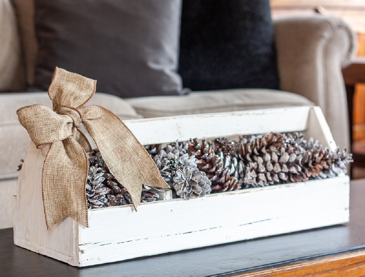 white tool box with pine cones