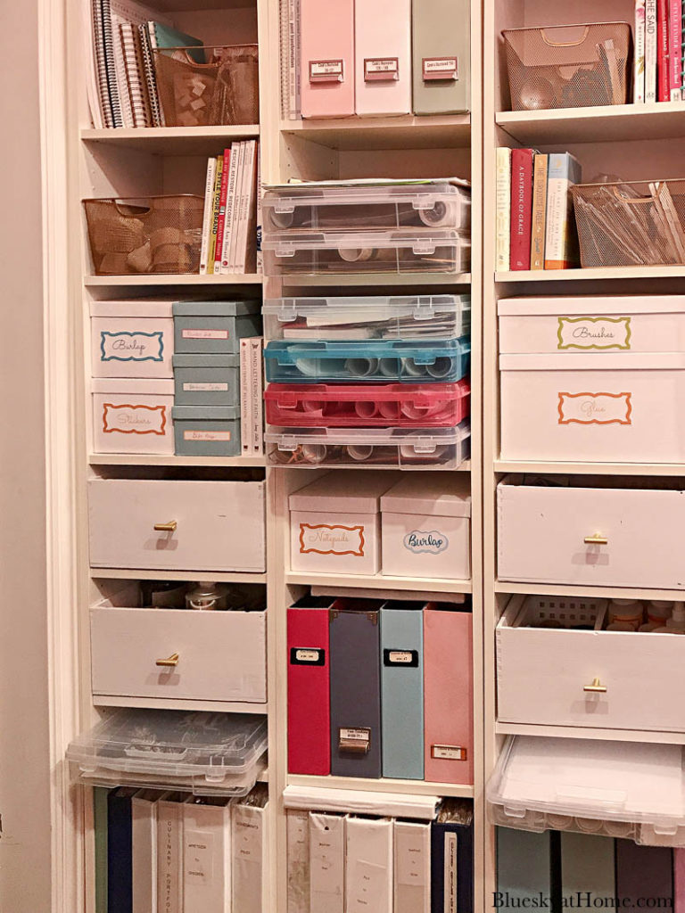 reorganized office bookcase