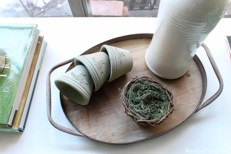 vintage pots and nest on tray