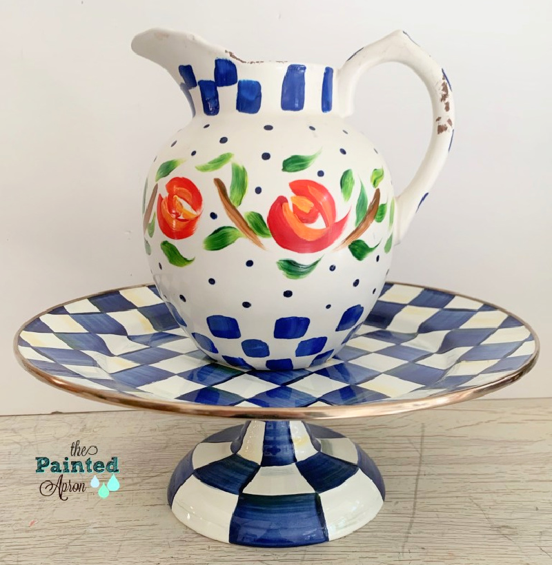 blue and white check stand with flowered pitcher