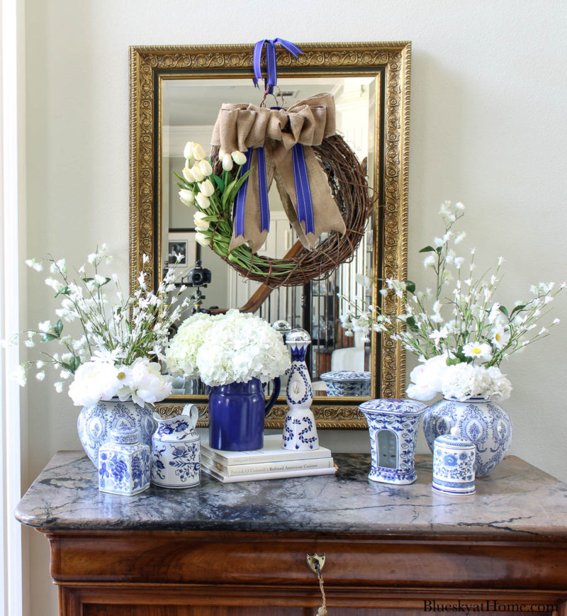 blue and white spring entry