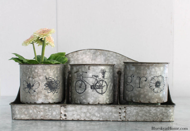 stenciled galvanized containers