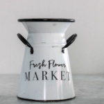 spring home decor stencil on enamel container
