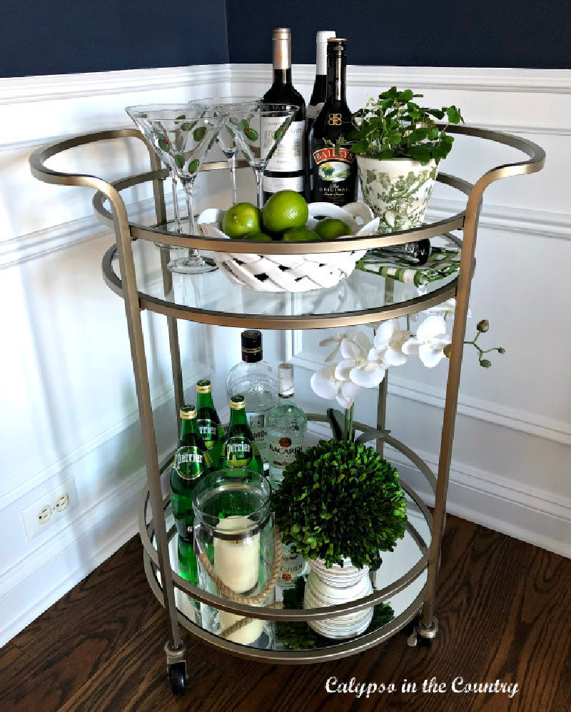 bar cart decorated for St. Patrick's Day