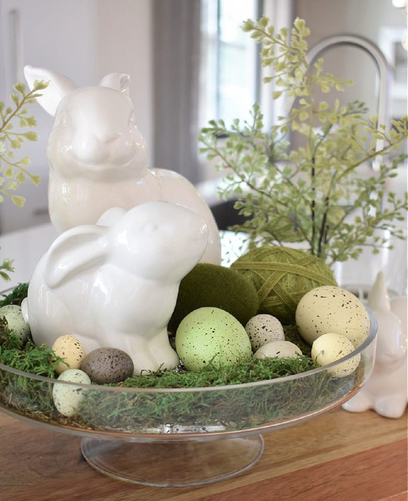 moss and bunny vignette
