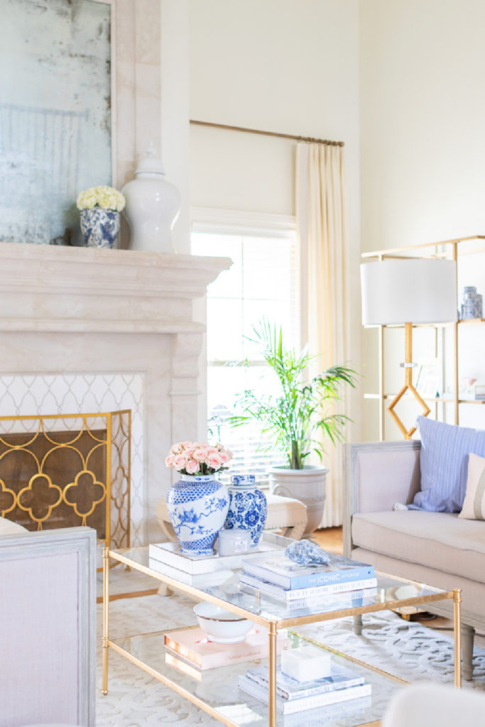 spring living room with blue accents and pink flowers