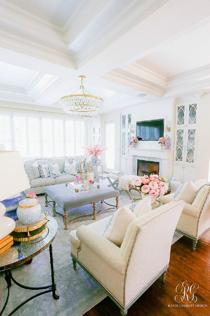 white chairs with blue accessories