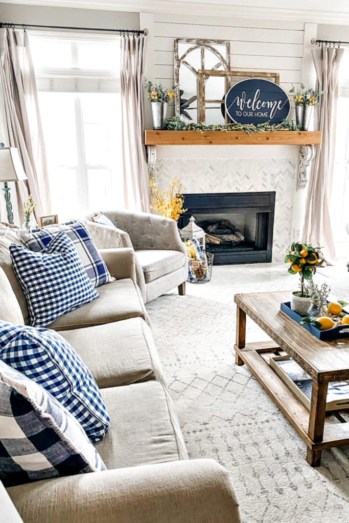 spring living room with blue pillows