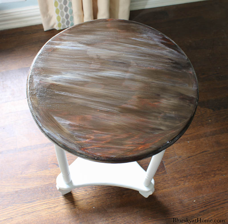 repurposed old table with sealer