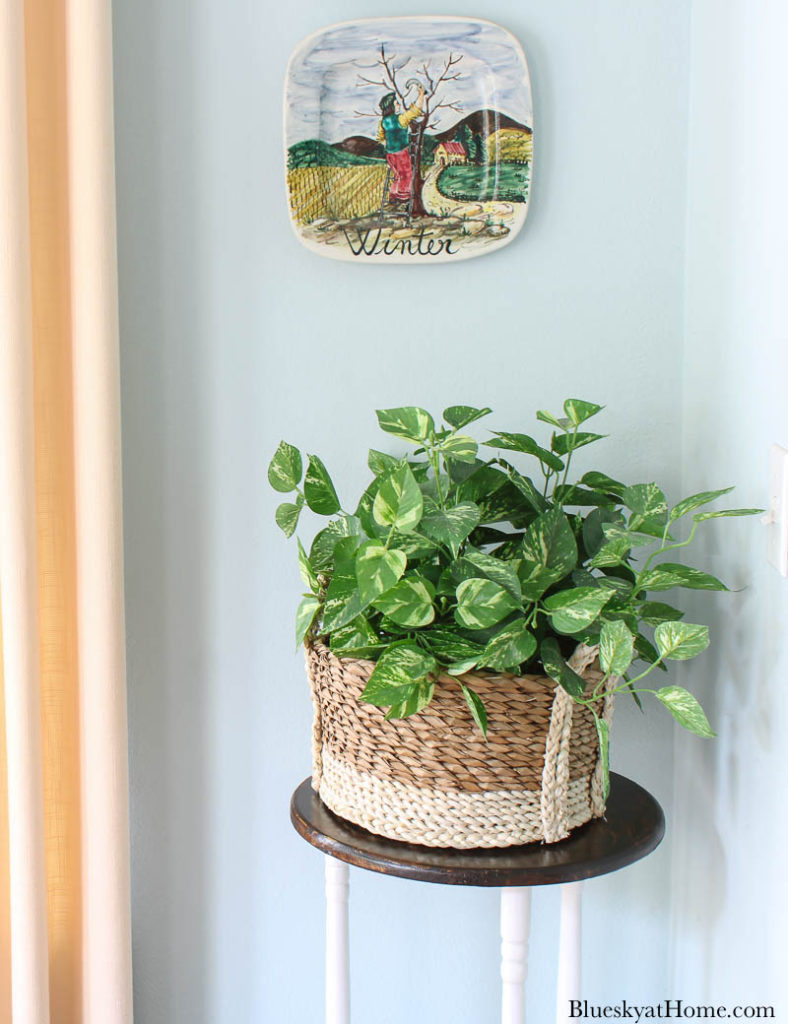 repurposed old table as a plant stand