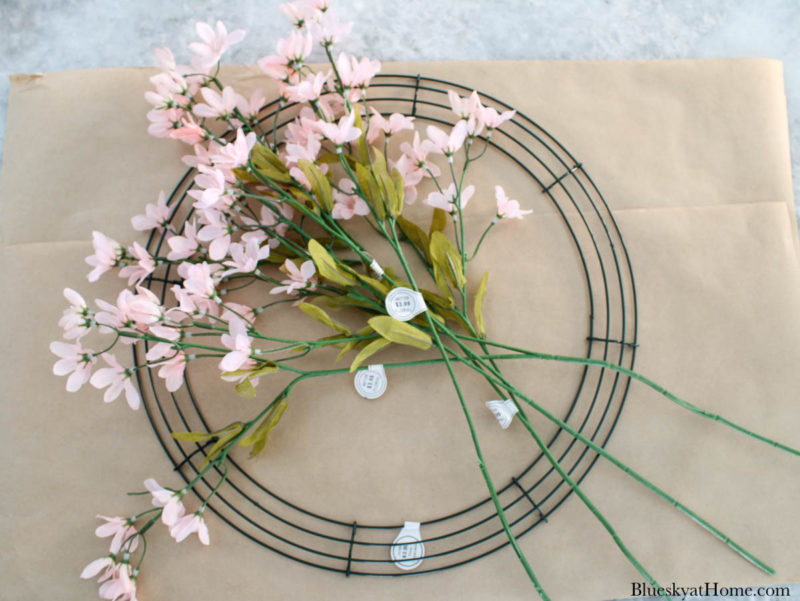 wired wreath and pink faux branches