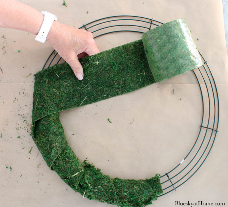 wrapping wired wreath moss ribbon