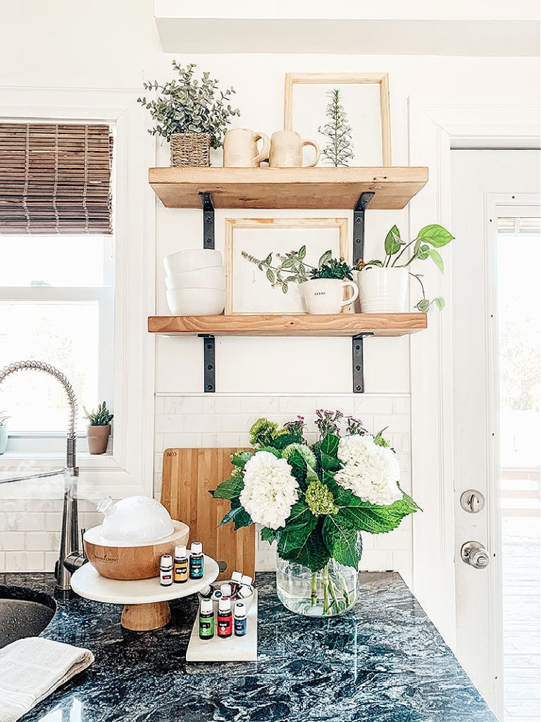 spring kitchen with open wood shelves