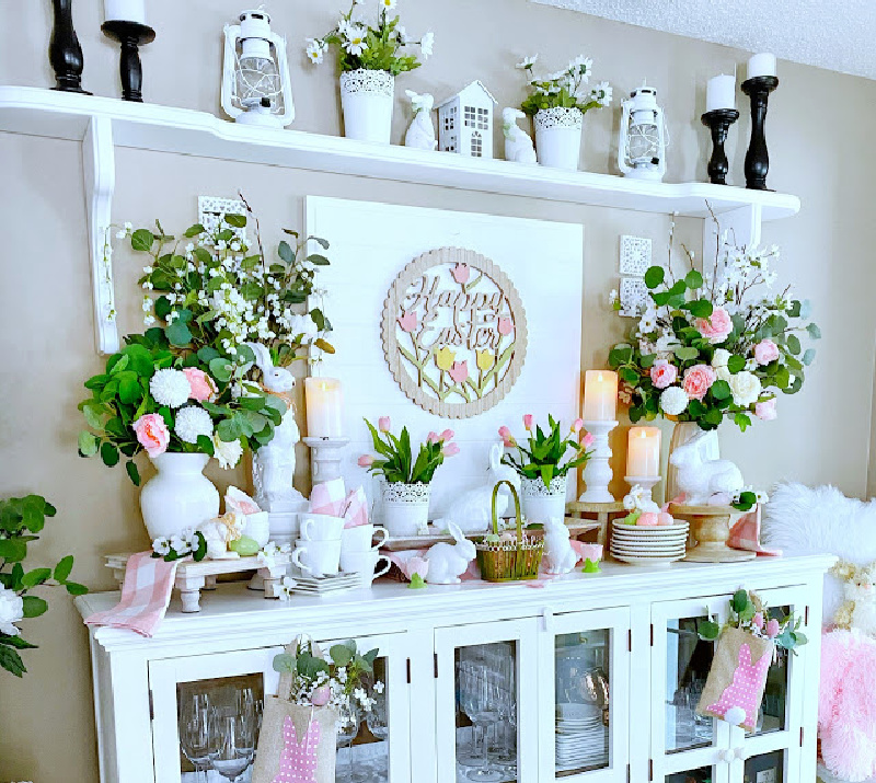 spring buffet in pink and white