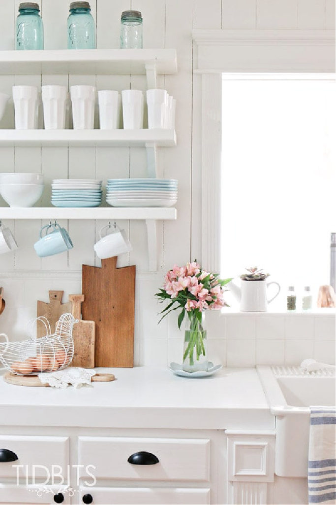 spring kitchen with blue and white dishes