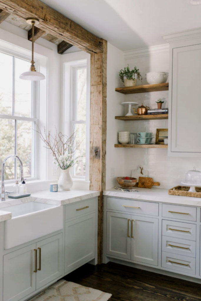 kitchen with wood beam and wood shelves
