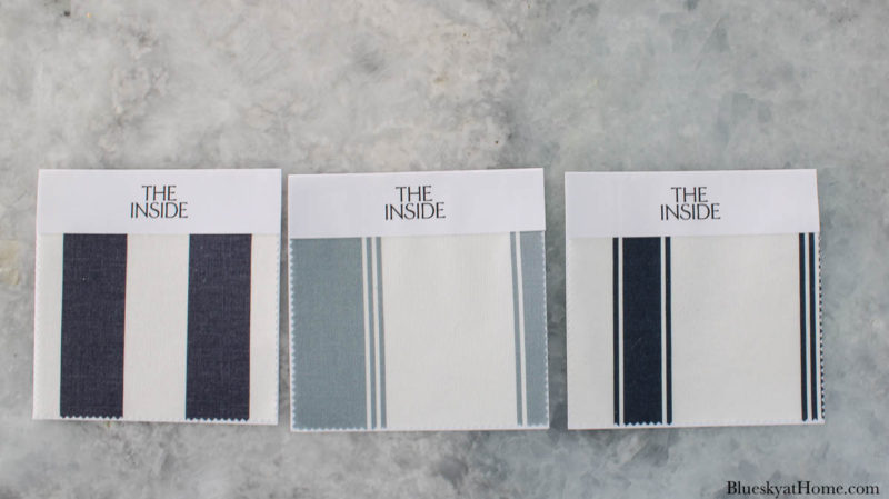swatches of three fabrics in blue and white