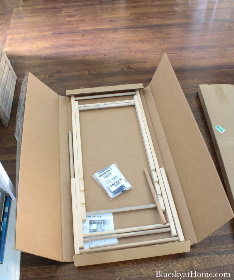 opening boxes with cabana chairs