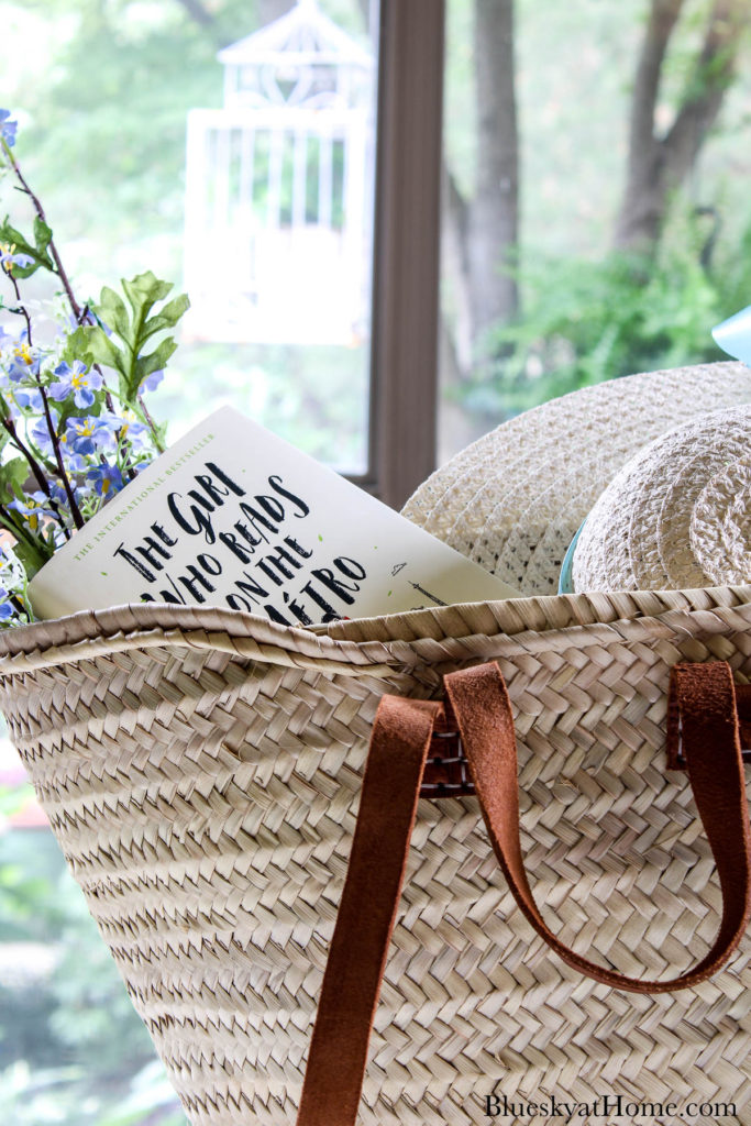 decorated woven French market tote