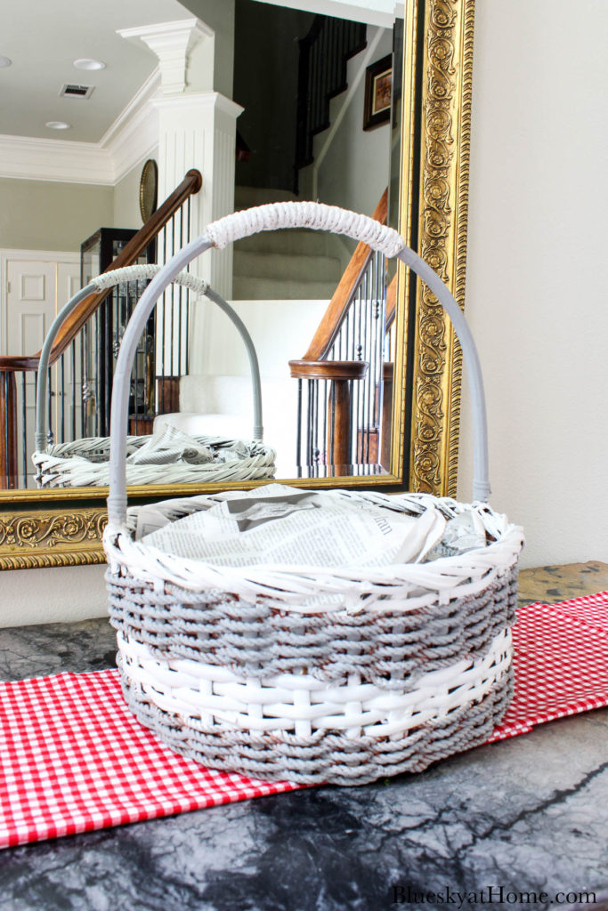 grey and white woven basket