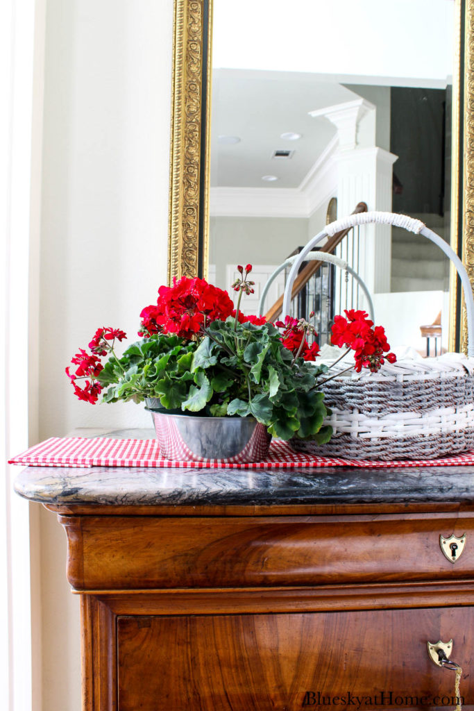 red geraniums in silver bowl