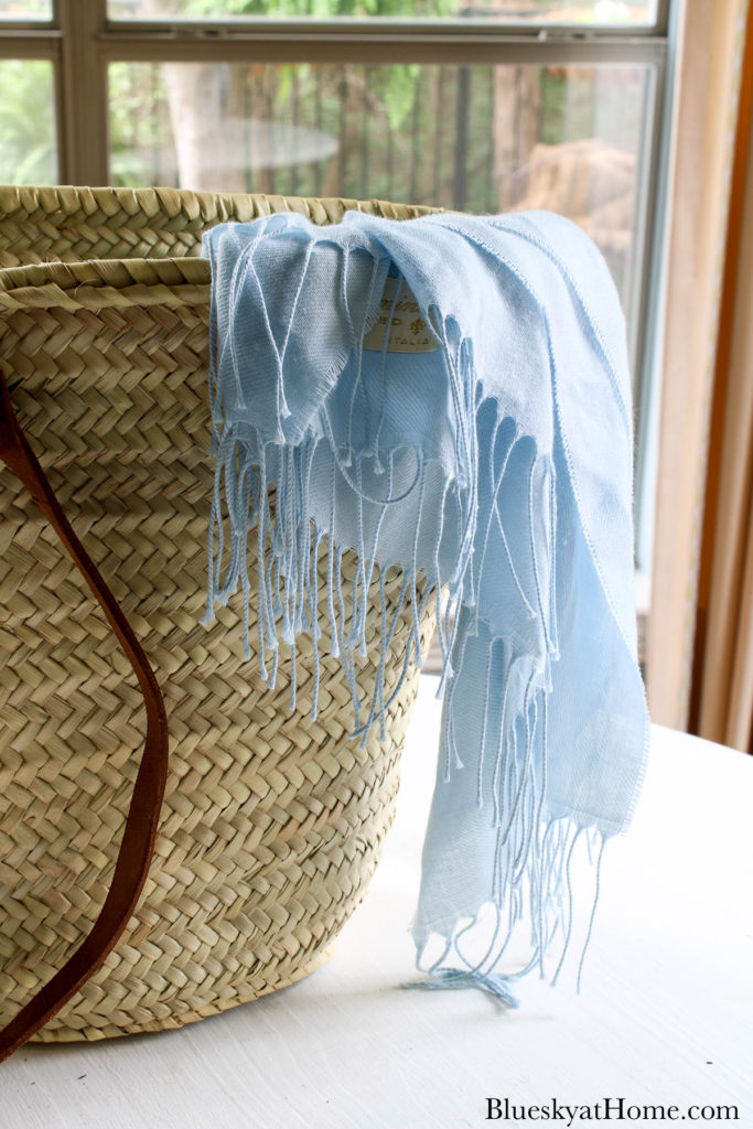 French market tote with blue shawl