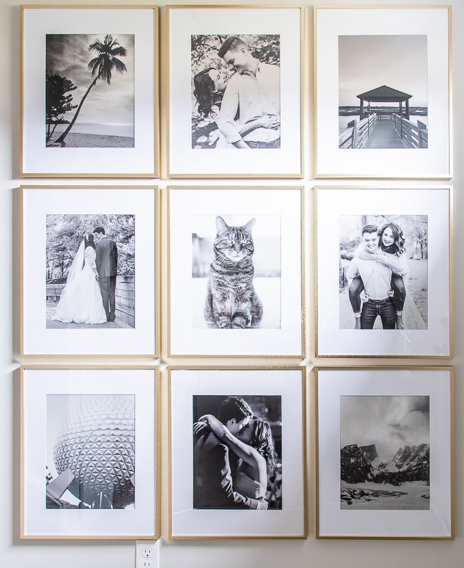 Group of photographs on wall