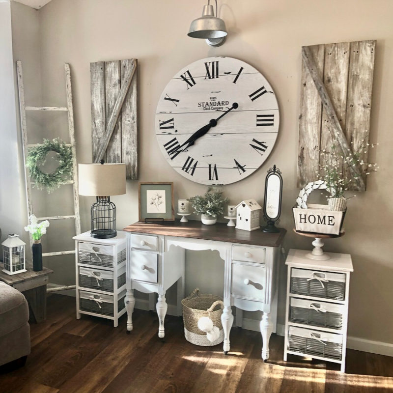 Farmhouse wall treatment with clock and shutters