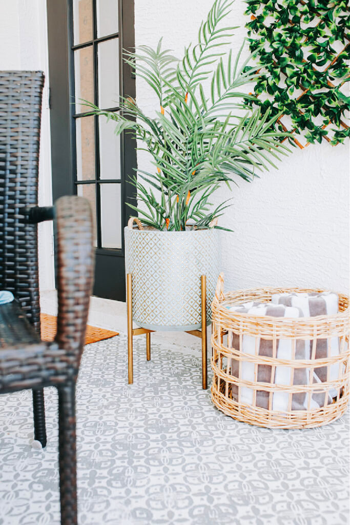 summer home decor with white planter and basket