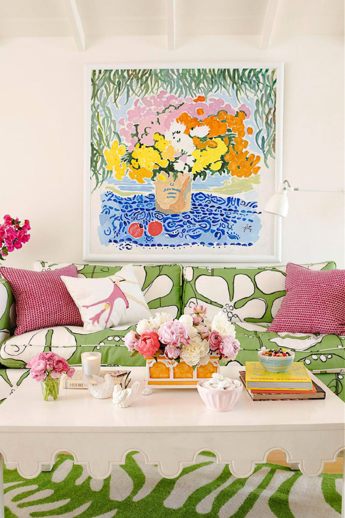 House Beautiful Magazine floral summer couach and painting