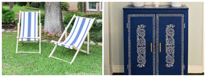 cabana chairs and blue stencil cabinet