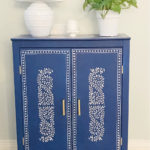 finished stenciled cabinet