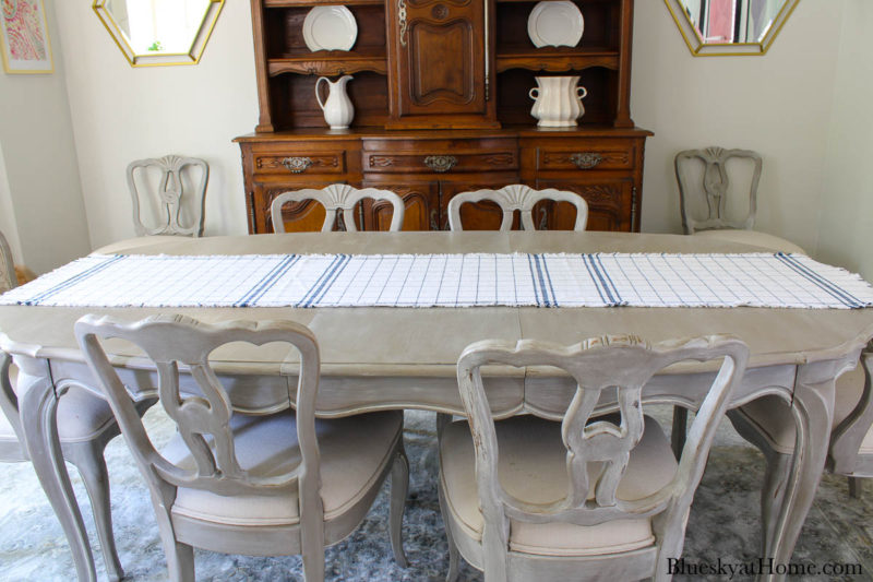 blue and white check runner on table
