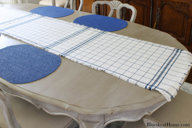 blue and white check runner on table with blue placemats