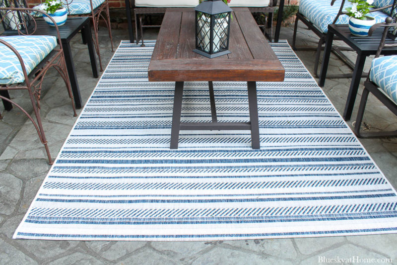 blue and white stripe patio rug