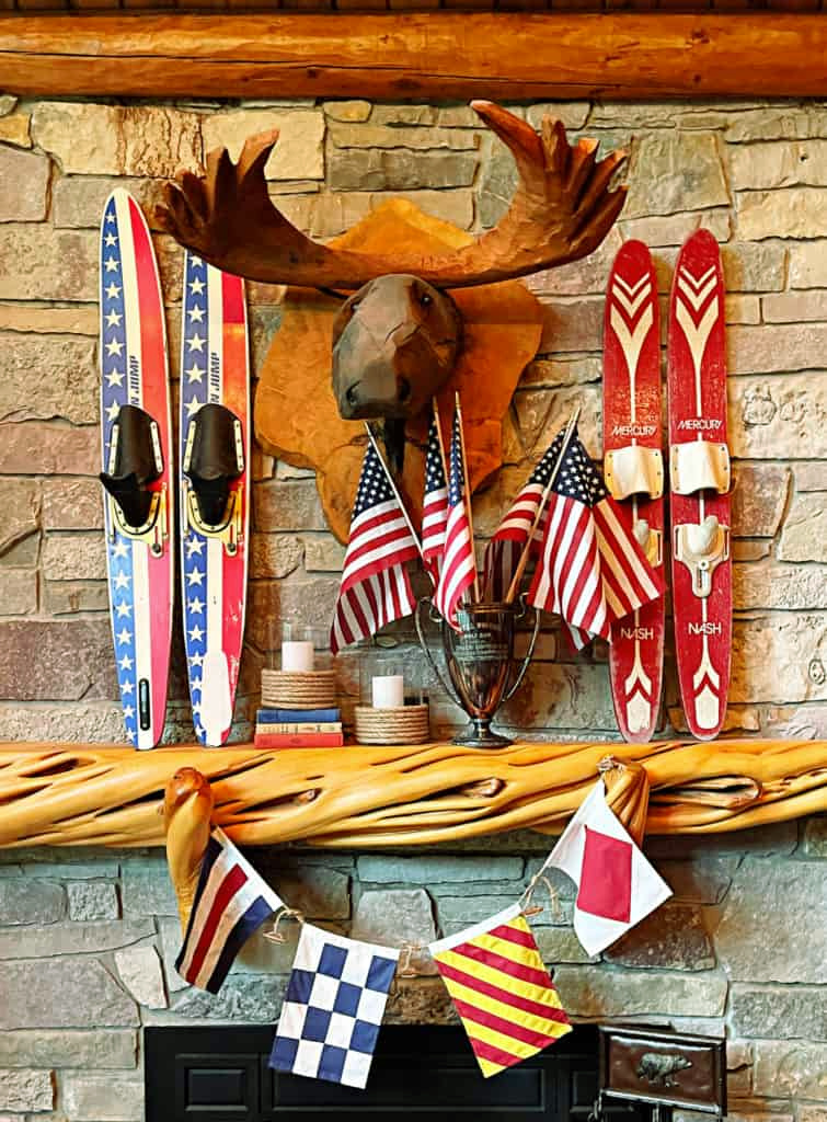 rustic mantel with skis and banner