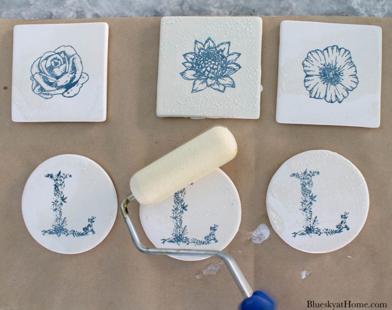 sealing tile coasters with paint roller