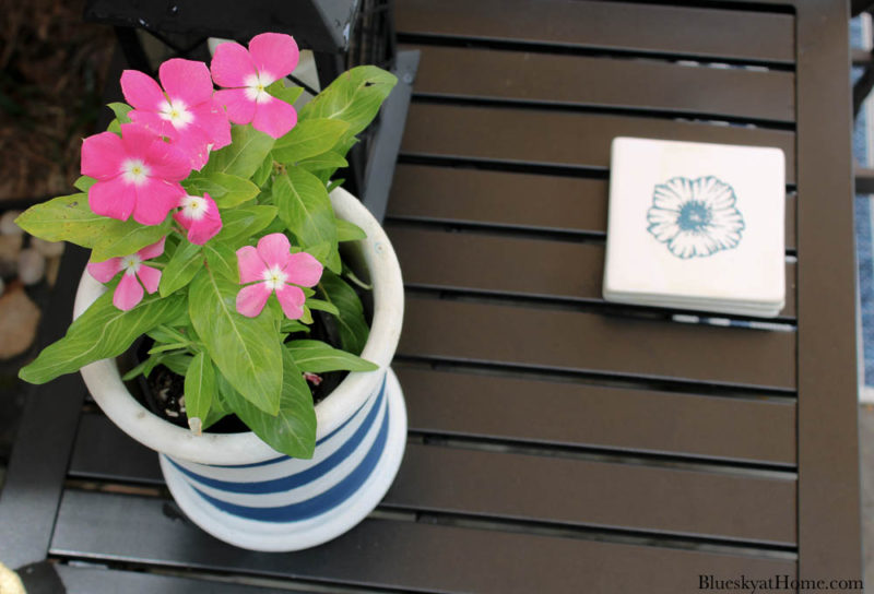 floral coasters on the patio table