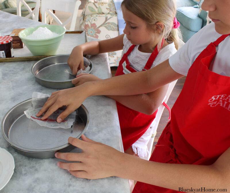 greasing cake pans